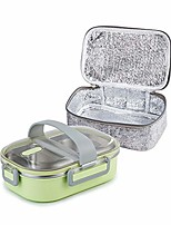 cheap -22oz stainless steel leakproof 2-compartment lunch box, bento box, portion control food container with insulated lunch bag, adults, men, women& #40;green& #41;