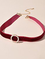 cheap -Women's Choker Necklace Trendy Imitation Pearl Red Green 30.5 cm Necklace Jewelry For Gift Festival