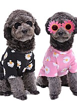 cheap -Dog Cat Shirt / T-Shirt Sweatshirt Embroidered Flower Floral Vintage Dog Clothes Black Pink Costume Fabric XS S M L XL XXL