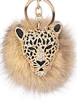 cheap -leopard with natural fox fur pom pom keychain for women  ball bag charm