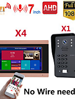 cheap -MOUNTAINONE SY710G008WF14 7 Inch Wireless WiFi Smart IP Video Door Phone Intercom System With One 1080P Wired Doorbell Camera And 4x Monitor Support Remote Unlock