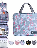 cheap -hanging toiletry bag, large capacity cosmetic organizer for family travel, portable and waterproof bathroom bag with 4 department to organize toiletries (flamingo grey)