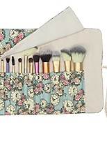 cheap -12 pockets makeup brushes rolling case pouch holder cosmetic bag organizer case with belt strap, no brushes (blue rose)