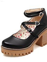 cheap -Women's Heels Wedge Heel Round Toe Sweet Daily Solid Colored PU Black / Pink / Beige