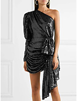 cheap -A-Line Sexy Sparkle Party Wear Cocktail Party Dress One Shoulder Long Sleeve Short / Mini Spandex with Ruched Sequin 2020