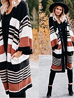 cheap -Women's Basic Knitted Color Block Cardigan Long Sleeve Loose Sweater Cardigans V Neck Fall Winter Black