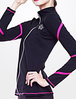 cheap -Figure Skating Fleece Jacket Women's Girls' Ice Skating Jacket Top Pink Glitter Spandex Stretchy Training Skating Wear Warm Crystal / Rhinestone Long Sleeve Ice Skating Winter Sports Figure Skating