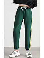cheap -Women's Basic Daily Wide Leg Pants Striped Breathable Black Green Gray S M L