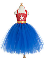 cheap -Princess Unicorn Dress Costume Girls' Movie Cosplay Plaited Vacation Dress Halloween Blue Dress Christmas Halloween Carnival Polyester / Cotton Polyester