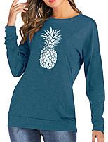 cheap -Women's T-shirt Fruit Long Sleeve Print Round Neck Tops Cotton Basic Basic Top Black Blushing Pink Green