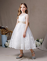 cheap -A-Line Jewel Neck Floor Length Lace / Tulle Junior Bridesmaid Dress with Appliques