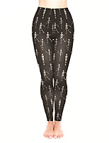 cheap -Women's Sporty Yoga Comfort Plus Size Skinny Halloween Leggings Pants Skull Ankle-Length High Waist Black