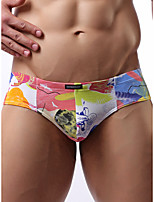 cheap -Men's Basic Briefs Underwear - Normal Low Waist Rainbow M L XL