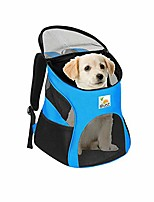 cheap -pet carrier backpack for dogs and cats- soft sided ventilated mesh with bed liner - safe hiking walking travel bag for small pets kitten puppy up to 12 lbs - light blue