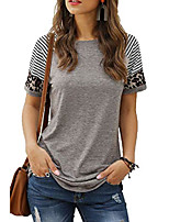cheap -womens crew neck solid color basic t-shirt tops grey s