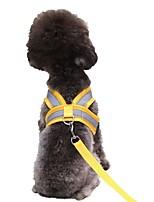 cheap -Dog Cat Harness Leash Portable Outdoor Solid Colored Polyester Husky Alaskan Malamute Golden Retriever Border Collie Bulldog Shiba Inu Yellow Red 1 set