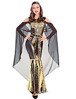 cheap -Cleopatra Dress Cosplay Costume Outfits Party Costume Adults' Women's Cosplay Vacation Dress Halloween Halloween Festival / Holiday Polyester Gold Women's Easy Carnival Costumes / Belt / Cloak / Belt