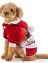 cheap -christmas dog clothes cartoon snowman doggie costume warm coral fleece pet hoodie coat outfit winter small dog four-leg jumpsuit jacket doggie pajamas puppy party dress up apparel (red)