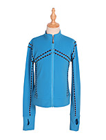 cheap -Figure Skating Fleece Jacket All Ice Skating Tracksuit Top Blue Green Glitter Spandex Stretchy Competition Skating Wear Warm Handmade Solid Colored Crystal / Rhinestone Long Sleeve Ice Skating Winter