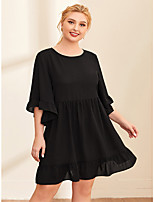 cheap -Women's Sheath Dress Knee Length Dress - Half Sleeve Solid Color Ruffle Patchwork Fall Plus Size Casual Batwing Sleeve Loose 2020 Black XL XXL 3XL 4XL