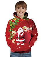 cheap -Kids Toddler Boys' Active Basic Santa Claus Color Block 3D Christmas Print Long Sleeve Hoodie & Sweatshirt Red
