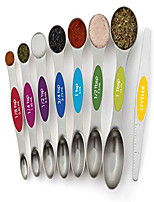 cheap -magnetic measuring spoons set, dual sided, stainless steel, fits in spice jars, multi-color, set of 8