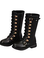 cheap -Girls' Boots Combat Boots PU Little Kids(4-7ys) Walking Shoes Black Fall / Winter / Mid-Calf Boots