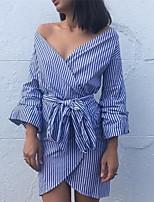 cheap -Women's A-Line Dress Short Mini Dress - Long Sleeve Striped Lace up Spring Fall Sexy Party 2020 Black Blue Gray S M L