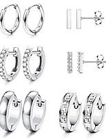 cheap -6 pairs hoop huggie earrings for women girls minimalist cuff mini bar stud earrings gold silver cubic zirconia small ear piercing set (silver)