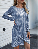 cheap -Women's Sheath Dress Knee Length Dress - Long Sleeve Tie Dye Print Fall Casual Going out Slim 2020 Blue Blushing Pink Orange Green Light Blue S M L XL XXL