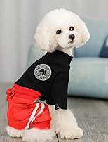 cheap -Dog Jumpsuit Color Block Casual / Sporty Fashion Casual / Daily Winter Dog Clothes Breathable White Black Beige Costume Cotton S M L XL XXL