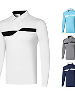 cheap -Men's Golf Polo Shirts Long Sleeve UV Sun Protection Breathable Quick Dry Sports Outdoor Autumn / Fall Spring Winter Cotton White Sky Blue Dark Blue Gray / Stretchy