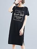 cheap -Women's Tshirt Dress Letter Print Round Neck Tops Cotton Basic Basic Top Black Gray