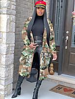 cheap -Women's Fall & Winter V Neck Coat Long Camo / Camouflage Daily Basic Print Rainbow S M L XL / Loose