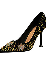 cheap -Women's Heels Stiletto Heel Pointed Toe Vintage Sexy Party & Evening Rhinestone Solid Colored Suede Orange / Black / Black / Red