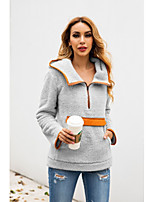 cheap -Women's Daily Pullover Hoodie Sweatshirt Solid Color Plain Front Pocket Basic Hoodies Sweatshirts  Blushing Pink Light gray Beige