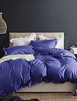 cheap -Purple 3-Piece Duvet Cover Set Hotel Bedding Sets Comforter Cover with Soft Lightweight Microfiber and Lotus Leaf Edge Decoration(Include 1 Duvet Cover and 1or 2 Pillowcases)