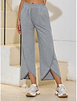 cheap -Women's Basic Daily Wide Leg Pants Solid Colored Split Sports Gray S M L