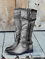 cheap -Women's Boots Block Heel Round Toe Casual Basic Daily PU Knee High Boots Walking Shoes Gray