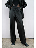 cheap -Women's Basic Daily Wide Leg Pants Solid Colored Breathable Black XS S M
