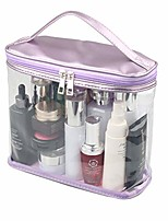 cheap -heavy duty leak proof clear travel bags for toiletries, transparent makeup cosmetic bag with zipper and handle (large, purple)