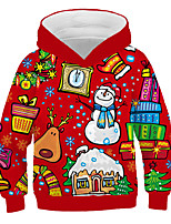 cheap -Kids Boys' Active Basic Santa Claus 3D Graphic Christmas Print Long Sleeve Hoodie & Sweatshirt Red