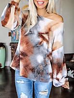 cheap -Women's Blouse Shirt Tie Dye Long Sleeve Cut Out Print Round Neck Tops Basic Basic Top Brown
