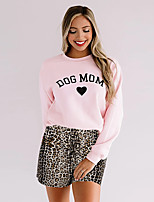 cheap -Women's Basic Leopard Cheetah Print Letter Two Piece Set Cotton Crew Neck Sweatshirt Pant Print Drawstring Tops