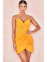 cheap -Women's Strap Dress Short Mini Dress - Sleeveless Solid Color Mesh Patchwork Spring V Neck Sexy Going out Slim 2020 Yellow S M L XL XXL