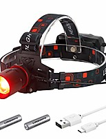 cheap -h10 t6 high lumen powerful red led zoomable hunting headlight usb rechargeable hunting headlamp for scanning coons,coyotes,predators (red)
