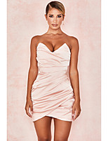 cheap -Sheath / Column Sexy bodycon Party Wear Cocktail Party Dress Sweetheart Neckline Sleeveless Short / Mini Stretch Satin with Sleek Ruched 2020