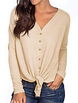 cheap -Women's Basic Knitted Solid Color Plain Pullover Long Sleeve Sweater Cardigans V Neck Fall Winter White Beige Gray