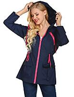 cheap -rain jacket women waterproof with hood long outdoor hiking rain jacket with pocket(navy blue-xxl)