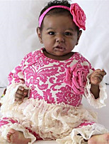 cheap -22 inch Reborn Doll Baby & Toddler Toy Baby Girl African Doll Reborn Baby Doll Black Doll Saskia lifelike Hand Made Simulation Hand Applied Eyelashes Floppy Head Cloth Silicone Vinyl with Clothes and